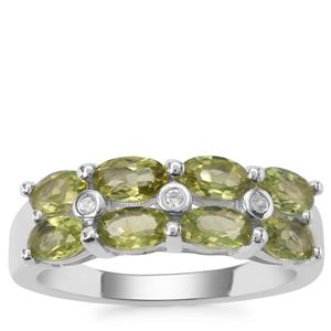 Red Dragon Peridot Ring with White Zircon in Sterling Silver 2cts