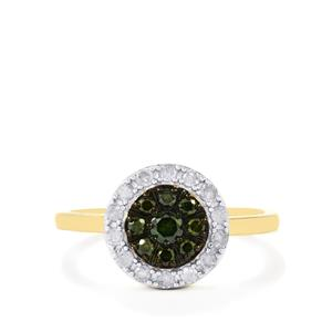 Green Diamond Ring with White Diamond in 10k Gold 0.50ct