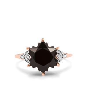 Black Spinel Wobito Snowflake Ring with Diamond in 10K Rose Gold 6.13cts