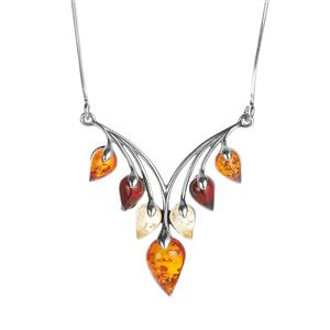 Baltic Cognac, Champagne Amber Necklace with Baltic Cherry Amber in Sterling Silver