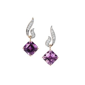 Asscher Cut Moroccan Amethyst Earrings with White Zircon in 9K Gold 5.56cts