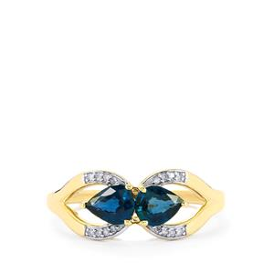 Nigerian Blue Sapphire Ring with Diamond in 10k Gold 1.09cts