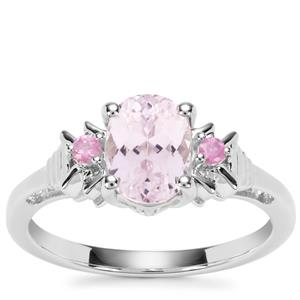 Kolum Kunzite Ring with Pink Sapphire in Sterling Silver 1.81cts