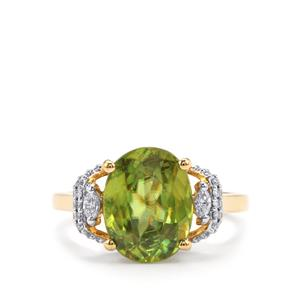 Ambilobe Sphene Ring with Diamond in 18k Gold 4.43cts