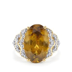 Ambilobe Sphene & Diamond 18K Gold Lorique Ring MTGW 7.75cts