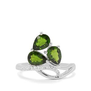 Chrome Diopside & White Zircon Sterling Silver Ring ATGW 2.18cts