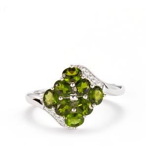 Chrome Diopside & White Topaz Sterling Silver Ring ATGW 1.72cts