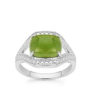 3.20ct Canadian Nephrite Jade Sterling Silver Ring