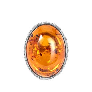Baltic Cognac Amber Ring in Sterling Silver (20 x 15mm)