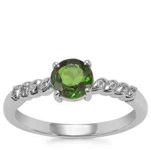 Chrome Diopside Ring with White Topaz in Sterling Silver 0.85ct