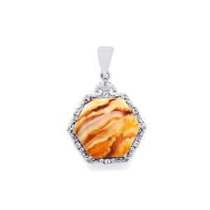 Lion's Paw Shell (15x15mm) Pendant with White Topaz in Sterling Silver