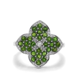 Chrome Diopside & White Topaz Sterling Silver Ring ATGW 1.65cts