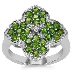 Chrome Diopside Ring with White Topaz in Sterling Silver 1.65cts