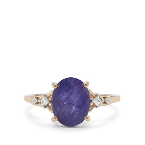 AAA Tanzanite Ring with White Zircon in 9K Gold 3.54cts