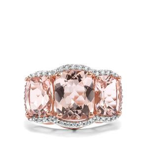 Alto Ligonha Morganite Ring with White Zircon in 9K Rose Gold 5.47cts