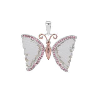 Optic Quartz Butterfly Pendant with Pink Tourmaline in Two Tone Sterling Silver 9.95cts