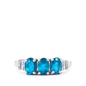 Neon Apatite & White Zircon Sterling Silver Ring ATGW 1.42cts