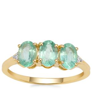 Siberian Emerald Ring with White Zircon in 9K Gold 1.45cts