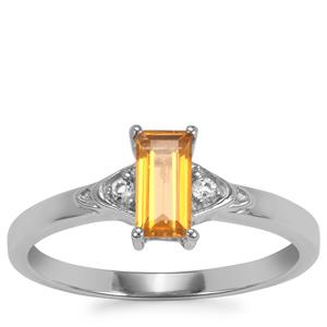 Golden Tourmaline Ring with White Zircon in Sterling Silver 0.58cts