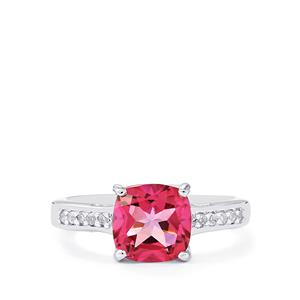 Mystic Pink Topaz Ring with White Topaz in Sterling Silver 2.64cts