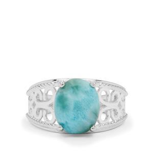 4.35ct Larimar Sterling Silver Ring