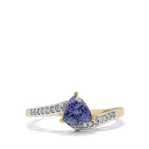 Bi Colour Tanzanite & White Zircon 9K Gold Ring ATGW 0.91cts