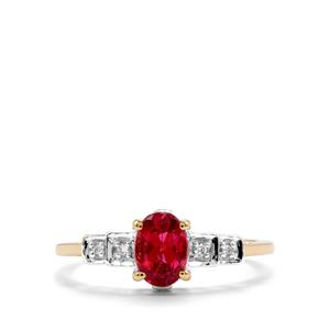 Cruzeiro Rubellite Ring with Diamond in 18K Gold 0.74cts