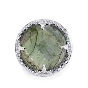 Labradorite Ring with White Topaz in Sterling Silver 17.62cts