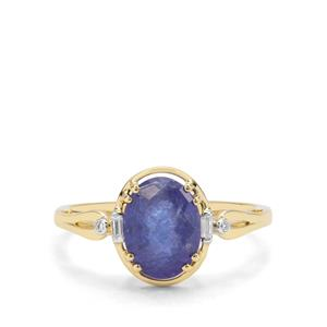 AA Tanzanite & White Zircon 9K Gold Ring ATGW 2.65cts