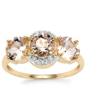 Alto Ligonha Morganite Ring with Diamond in 10K Gold 2.13cts