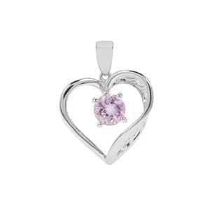 Rose De France Amethyst Heart Pendant in Sterling Silver 1.19cts
