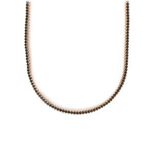 """36"""" Diamond Cut Ball Two Tone Sterling Silver Necklace"""