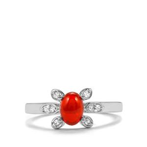 Mexican Fire Opal Ring with Zircon in Sterling Silver 0.62cts