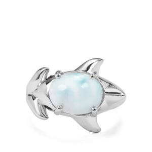 Larimar Ring with Nampula Garnet in Sterling Silver 4.18cts