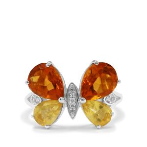 Burmese Amber Ring with White Zircon in Sterling Silver 1.84cts