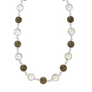Black Coral Necklace with Optic Quartz in Sterling Silver 85.58cts