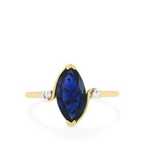 Bengal Iolite Ring with White Zircon in 10k Gold 1.48cts