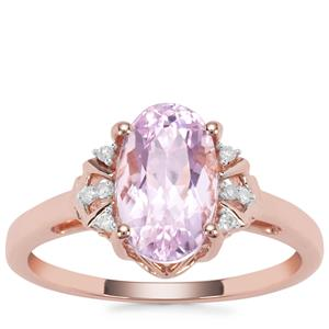 Natural Nuristan Kunzite Ring with Diamond in 9K Rose Gold 2.40cts