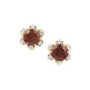 Bekily Colour Change Garnet Earrings with White Zircon in 9K Gold 1.10cts
