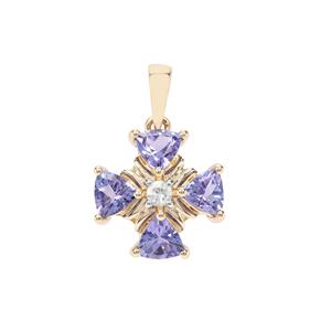 AA Tanzanite Pendant with White Zircon in 9K Gold 2.15cts