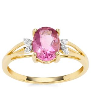 Natural Pink Fluorite Ring with Diamond in 9K Gold 1.54cts