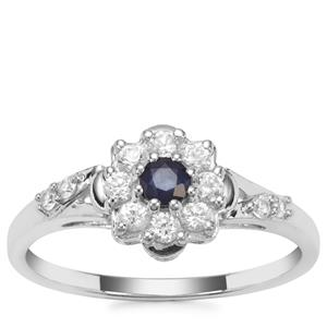 Sri Lankan Sapphire Ring with White Zircon in 9K White Gold 0.62ct
