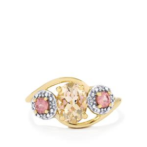 Mutala Morganite, Pink Spinel Ring with Diamond in 10K Gold 1.46cts