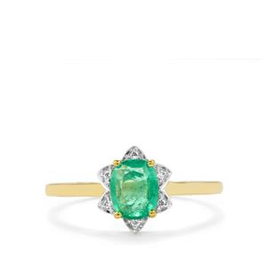 Zambian Emerald Ring with Diamond in 14K Gold 0.83ct