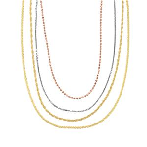 Three Tone Midas Altro Diamond Cut Multi Strand Necklace 17.09gms