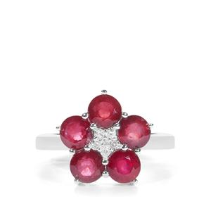 Malagasy Ruby Ring with White Zircon in Sterling Silver 3.84cts (F)