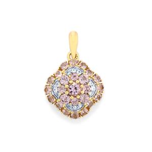 Mahenge Purple Spinel Pendant with White Sapphire in 10k Gold 1.35cts