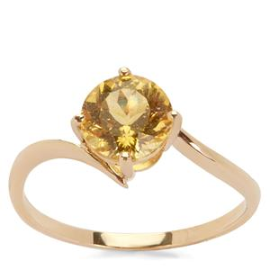 Canary Apatite Ring in 9K Gold 1.43cts