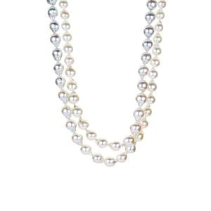 Akoya Cultured Pearl Graduated Ombre Necklace in Sterling Silver