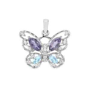 Bengal Iolite, Marambaia London Blue Topaz & White Zircon Sterling Silver Butterfly Pendant ATGW 1.52cts